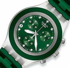 NEW Swatch Irony Diaphane Chronograph Full Blooded Green Date Watch SVCK4043AG