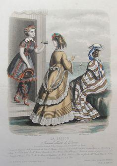La Saison 1870 1870s Fashion, Victorian Fashion, Vintage Fashion, Victorian Era, Swimming Outfit, Swimming Clothes, Bathing Costumes, Vintage Swim, Nautical Fashion
