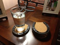 Horseshoe and Cork Coasters by RusticDesignsByRiley on Etsy, $35.00