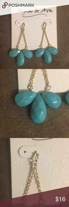 """New Beautiful gold and turquoise earrings 2"""" long Anna & Ava Jewelry Earrings"""