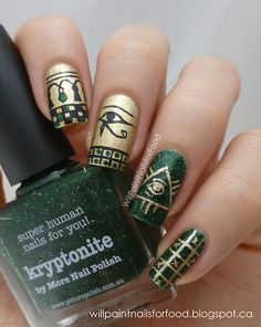 Amazing ancient Egyptian-themed nails...Will paint nails for food.