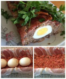 Nodig: 750 gr. rundergehakt, pakje ontbijtspek, 2 rauwe eieren, klein gesneden rood uitje, wat havermout, peterselie, tijm, zout en peper, kurkuma, kerrie, paprikapoeder. Om te vullen:5 hardgekoo…