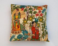 Decorative Mexican Frida Kahlo Pillow Cushion Cover With Cactus and Bright Flowers