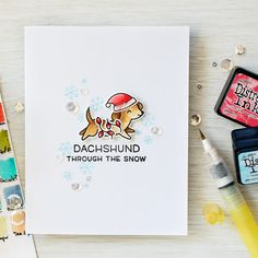 Simon Says Stamp Stamptember®! Lawn Fawn Collaboration - Dachshund Through The Snow Card by Yana Smakula