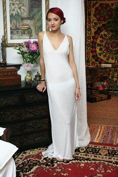 White Silk Knit Slip Nightgown Bridal Cruise от SarafinaDreams