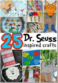 Seuss Crafts - perfect for Dr. Seuss Birthday in March or a fun Dr. These crafts based on the books are sure to be a hit with Toddler, Preschool Kindergarten, and grade kids Daycare Crafts, Preschool Kindergarten, Toddler Crafts, Crafts For Kids, Toddler Preschool, Toddler Fun, Preschool Curriculum, Dr. Seuss, Dr Seuss Week