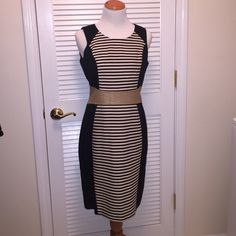 Calvin Klein dress black and beige stripe Size 6, mid length, black and beige stripe dress with tan banded waist. 90% cotton 10%nylon. Fully lined. Gold zipper up back Calvin Klein Dresses Midi
