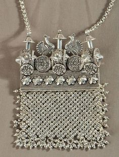 Absolutely in love with this Tribal Statement Kavacha Necklace Tribal Jewelry, Indian Jewelry, Jewelery, Silver Jewelry, Silver Earrings, Peacock Jewelry, Fine Jewelry, Vintage Purses, Jewelry