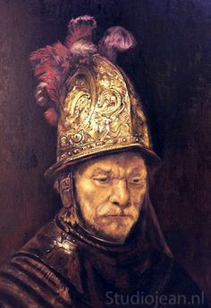 Jean Elliot painted a series of Rembrandt's self portraits in 2005 to commemorate the great Dutch painters birthday. This is a copy in oil paint of his self portrait that he painted in Great detail went in to the painting of this shiny gold helmet! Rembrandt Self Portrait, Dutch Painters, Nelson Mandela, Old Things, Inspiring Art, Art Work, Helmet, Portraits, Painting