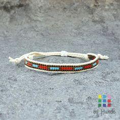 Red copper blue miyuki loom beaded bracelet, seed bead bracelet by Mi Mundo Jewelry, gifts for her, minimal bracelet, boho beaded bracelet