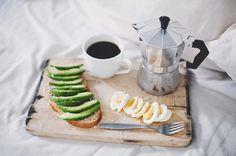 breakfast: avocado sandwich and egg