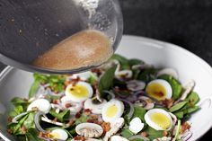 sizzling bacon vinaigrette, cold spinach salad by smittenkitchen