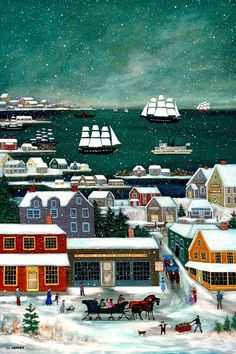Winter in Nantucket Harbor by capecodfolkart on Etsy, $45.00