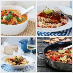 FEM KJAPPE MIDDAGSFAVORITTER Kung Pao Chicken, Curry, Ethnic Recipes, Food, Curries, Essen, Meals, Yemek, Eten