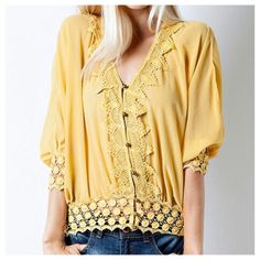 JUST IN! Mustard Dolmen Top with Crochet Lace Details! Perfect for fall! This top is loose fitting and has dolmen sleeves. Lightweight and sheer. ONLY $29.99!!! Get yours while they last! Available in sizes Small-Large.  https://www.facebook.com/pistolsnpearlsboutique/photos/a.670745509688948.1073741827.663189423777890/682377078525791/?type=1&theater