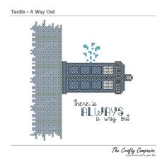 A Way Out - Tardis Doctor Who Inspired PDF Cross Stitch Pattern - INSTANT DOWNLOAD