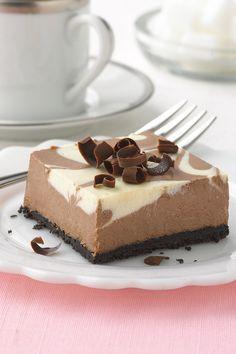 PHILADELPHIA Chocolate-Vanilla Swirl Cheesecake with shaved chocolate on top. A great tweet dessert for Wedding Showers. #recipe