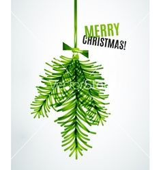 Christmas tree branch toy new year concept vector mistletoe - by antishock on VectorStock®