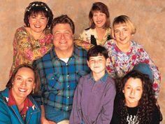 Roseanne (1988 - 1997) A TV Land Classic Sitcom starring (left to right) Laurie Metcalf, Roseanne Barr, John Goodman, Michael Fishman, Natalie West, Alicia Goranson, Sara Gilbert