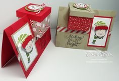 Is it a card or a gift box or a gift card box? Not the typical gift card, but a gift with a card. Seuss would say if I was clever enough to rhyme it! One of my favorite Fun Fold Cards, Pop Up Cards, Xmas Cards, Stampin Up Christmas, Christmas Crafts, Stampin Up Weihnachten, Gift Card Boxes, Card Tutorials, Paper Cards