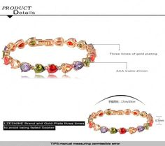 Gold Plated Charm Bracelet Venus Colorful Water Drop Cubic Zirconia