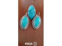 Vestimentatie, Bijuterii, accesorii, Set cercei + inel albastru si negru., imaginea 1 din 2 Turquoise, Drop Earrings, Jewelry, Jewlery, Jewerly, Green Turquoise, Schmuck, Drop Earring, Jewels