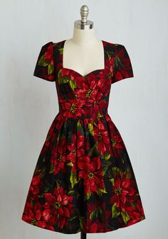 Only In Merry Tales Dress by ModCloth - Multi, Red, Floral, Print, Party, Holiday Party, Fit & Flare, Short Sleeves, Woven, Better, Exclusives, Private Label, Holiday, Gifts2015, Mid-length, Cotton