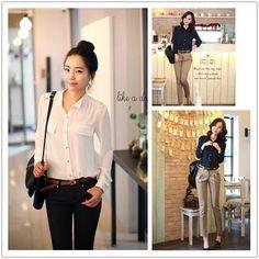 New Korean Beautiful Style OL Slim Women Fashion Shirt Blouse All Match | eBay