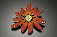 Angela Gerhard - enamel, but great polymer inspiration Red Jewelry, Enamel Jewelry, Charm Jewelry, Jewelry Art, Jewelry Design, Polymer Clay Art, Polymer Clay Jewelry, Flower Brooch, Red Flowers
