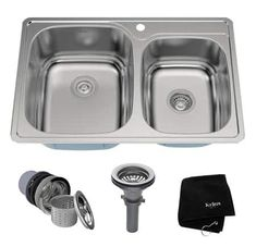 Buy the Kraus Stainless Steel Direct. Shop for the Kraus Stainless Steel Drop In Double Bowl 18 Gauge Stainless Steel Kitchen Sink and save. Drop In Sink, Double Bowl Kitchen Sink, Kitchen Sinks, Kitchen Countertops, Kitchen Redo, Kitchen Remodel, Kitchen Ideas, Home Depot, Houses