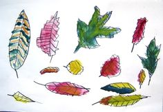 Autumn leaves, art lesson for a group of 6 year old children.