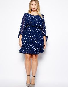 New Look Inspire Spot Print Long Sleeve Dress- For any of the lovelies who repined this, I just got this dress it fits like a dream! Nice quality too.  if you're tempted go for it