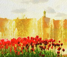 Tulip lawn and fountains by Gerlya Sunshine. Captured in Freudenstadt, Germany. Digital painting on a base of original photography (created from digital photography). #GerlyaSunshine #FineArtPhotography #photography #Freudenstadt #tulips #spring #flowers #red