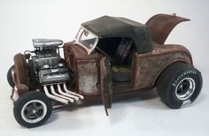 1932 Ford Roadster Custom Weathered Barn Find Drag Car Rat Rod 1/18 Diecast ACME #ACME #1932FordRoadster