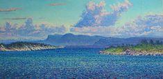 Clouds, Bekkjarvik - NORWAY Oil on linen, 50 x 100 cm Shops, Monet, Impressionist, Norway, Clouds, Oil, Artwork, Painting, Travel