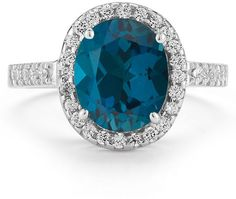 ApplesofGold.com - London Blue Topaz and Diamond Cocktail Ring in 14K White Gold