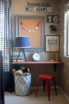 shelf desk for Will's room to extend bunk to window/wall with cork board and clothespin pics above??