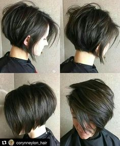 Short Layered Brunette Bob bob haircuts with layers thick hair 70 Cute and Easy-To-Style Short Layered Hairstyles Bob Haircuts For Women, Short Bob Haircuts, Hairstyles Haircuts, Pretty Hairstyles, Layered Hairstyles, Stacked Haircuts, Short Dark Hairstyles, Short Hair With Undercut, Medium Hairstyles