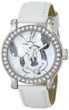 Ingersoll IND25677 Womens Watch Minnie On Dial Crystals On Bezel White Strap