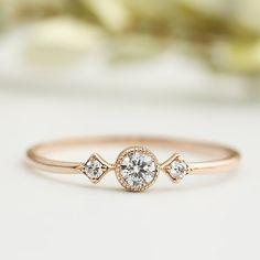 Rose gold engagementring, Unique engagement ring, 3mm white diamond, conflict free, three diamond ring, 14k 18k gold, platinum, sta-r103-dia