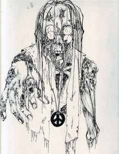 Zombie Drawings | hippie zombie line art by harlequin ink traditional art drawings ...