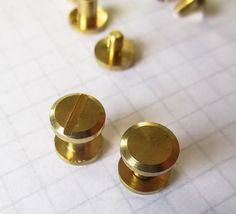 Chicago Screw Solid Brass 8mm wide Flat Head 5mm high for belts, wallets, albums #Jaszitupleatheraccents