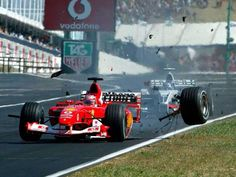 Rubens Barrichello makes some quick alterations to his Ferrari whilst under braking during the 2003 Hungarian Grand Prix. MORE: Rubens Barrichello – Born to race The incident was caught on video here: . Formula 1, Le Mans, F1 Crash, Gp Moto, Gp F1, Hungarian Grand Prix, F1 Motorsport, Gilles Villeneuve, Ferrari F1