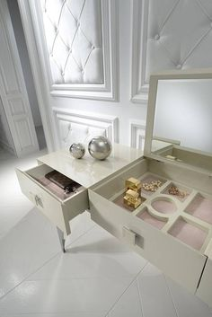 The Italian designed high gloss dressing table with baroque stainless steel legs is finished in cappuccino and exclusive to Juliettes Interiors. Luxury Furniture, Furniture Design, Dressing Table, High Gloss, Master Bedroom, Vanity, Design Inspiration, Contemporary, Storage