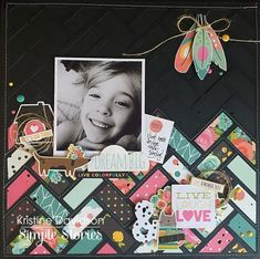 this striking combination of color against the black background on this layout from creative team member using our Carpe Diem scrapbook collection! Paper Bag Scrapbook, Kids Scrapbook, Scrapbook Albums, Scrapbook Cards, Travel Scrapbook, Scrapbook Layout Sketches, Scrapbook Designs, Scrapbooking Layouts, Digital Scrapbooking