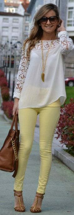 White Lace Long Slv Tunic + Yellow Skinny Jeans + Nude Heels + Long Pendant Necklace + Sunglasses + Leather Handbag This whole outfit. Spring Summer Fashion, Spring Outfits, Spring Wear, Outfit Summer, Spring 2014, Spring Style, Summer 2015, Yellow Skinny Jeans, Yellow Jeans Outfit