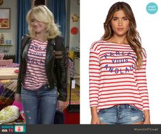 Gabi's striped French top on Young and Hungry. Outfit Details: http://wornontv.net/49383/ #YoungandHungry