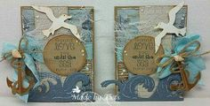 card nautical anchor birds seagulls seagull waves Noor! Design Seashore