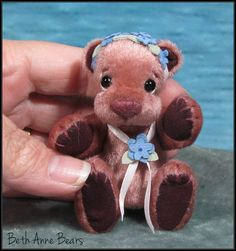 "**Beth Franco Bears** Taya is 2 7/8"" sitting and 3 1/2"" tall."