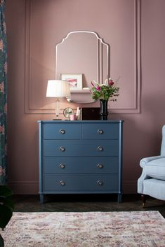 Say hello to stunning cabinet furniture! Our signature Laura Ashley style, Henshaw has been reintroduced in a brand new shade of Dusky Seaspray. Designed to beautifully complement the new Tapestry Floral story, the Henshaw range is crafted with solid wood and handpainted for a high quality finish. Discover our bedroom drawers online.